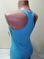 Майка борцовка женская спортивная голубая р.L (48) хлопок с эластаном Berrak 2007