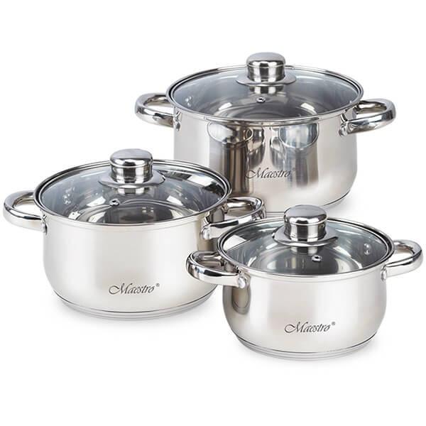 Набір посуду Maestro з сріблястими ручками, 6 предметів