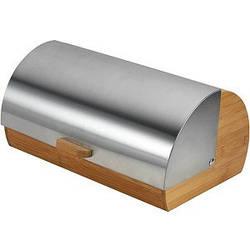 Хлебница Maestro деревянная с крышкой из нержавеющей стали
