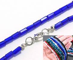 Бусины прямоугольные 3х6мм, с замочком длина 48см ≈ 68 бусин (стекло) цвет - Синий