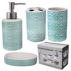 """Керамический набор для ванной комнаты S&T """"Голубой узор"""""""