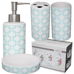 """Керамический набор для ванной комнаты S&T """"Голубая геометрия"""""""