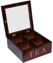 Коробка квадратная для хранения чая 4 секции