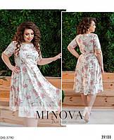 Легкое летнее платье клеш с цветочным принтом размеры 50-56 арт 19-12