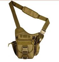 Тактическая мужская сумка через плечо, штурмовая военная армейская сумка рюкзак Oxford 600D песочная
