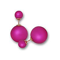 Серьги шары Dior цвета фуксия матовые