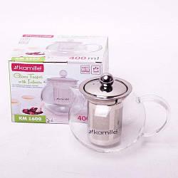 Стеклянный заварочный чайник Kamille 0,4 л