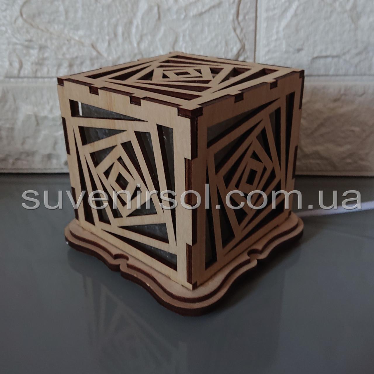 """Соляной светильник деревянный куб """"Кубы"""""""