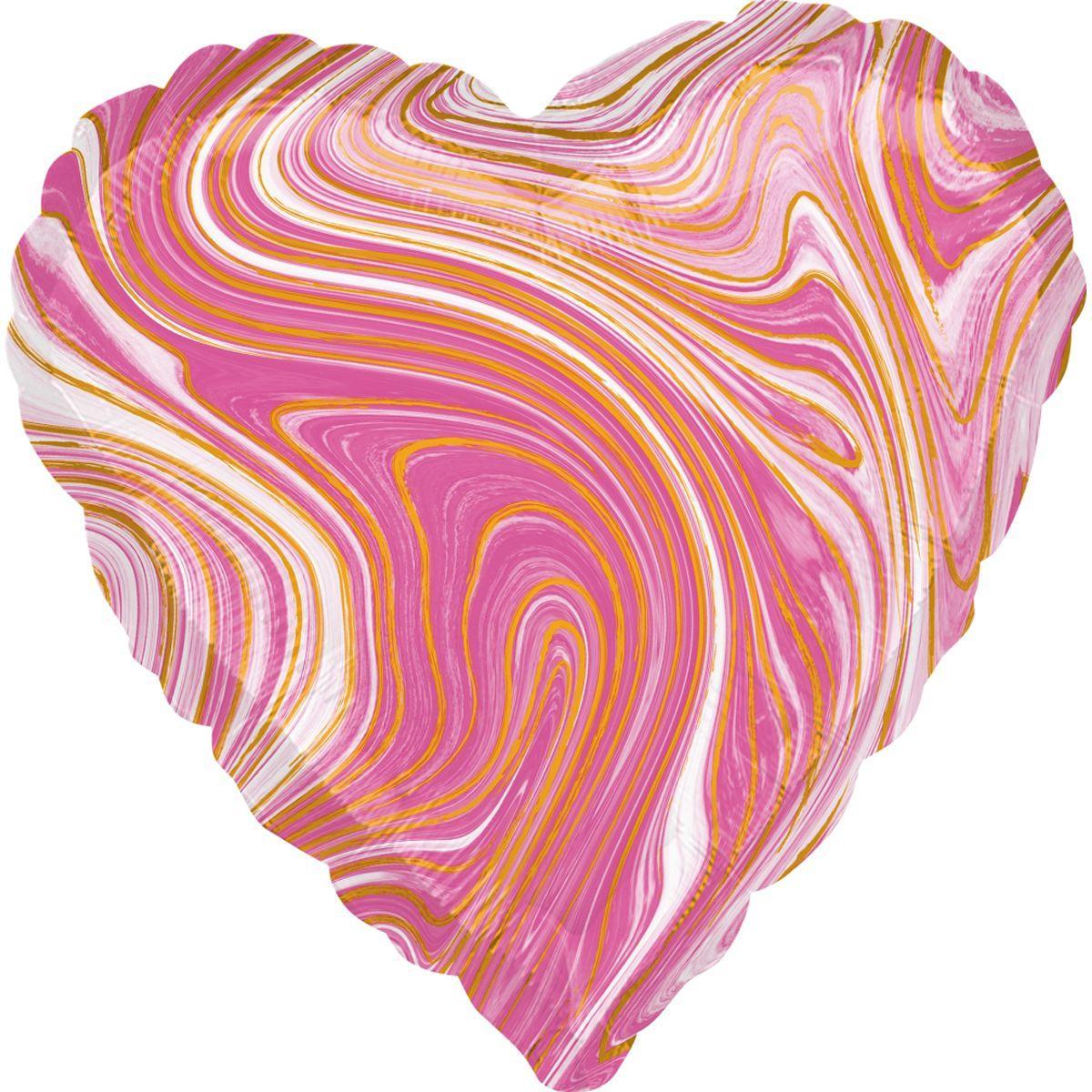 """Фольгированный Шар Сердце с Рисунком Anagram (США) Агат Розовый Pink Marble 18""""/43 см"""