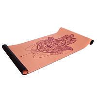 Коврик для йоги Замшевый каучуковый двухслойный 3мм Record (размер 1,83мx0,61мx3мм, персиковый)