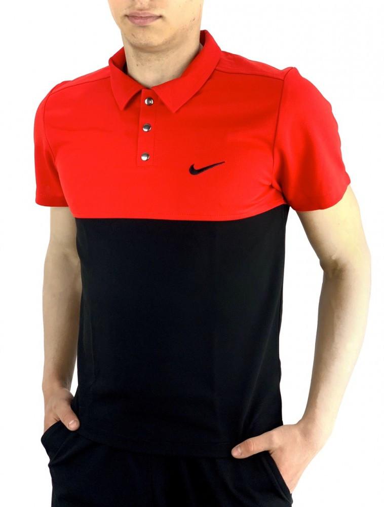 Мужская футболка поло Nike 21158 красно-черная