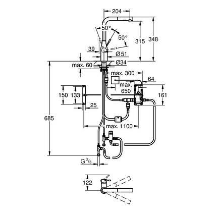 Змішувач для кухні сенсорний Grohe Essence Foot Control 30311000, фото 2