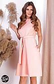 Коктейльное платье розового цвета с поясом. Модель 24580. Размеры 42-46