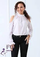 Шифоновая блуза с открытыми плечами и бантом 014В/02, фото 1