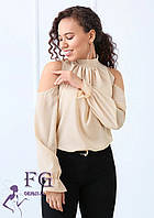 Шифоновая блуза с открытыми плечами и бантом 014В/04, фото 1