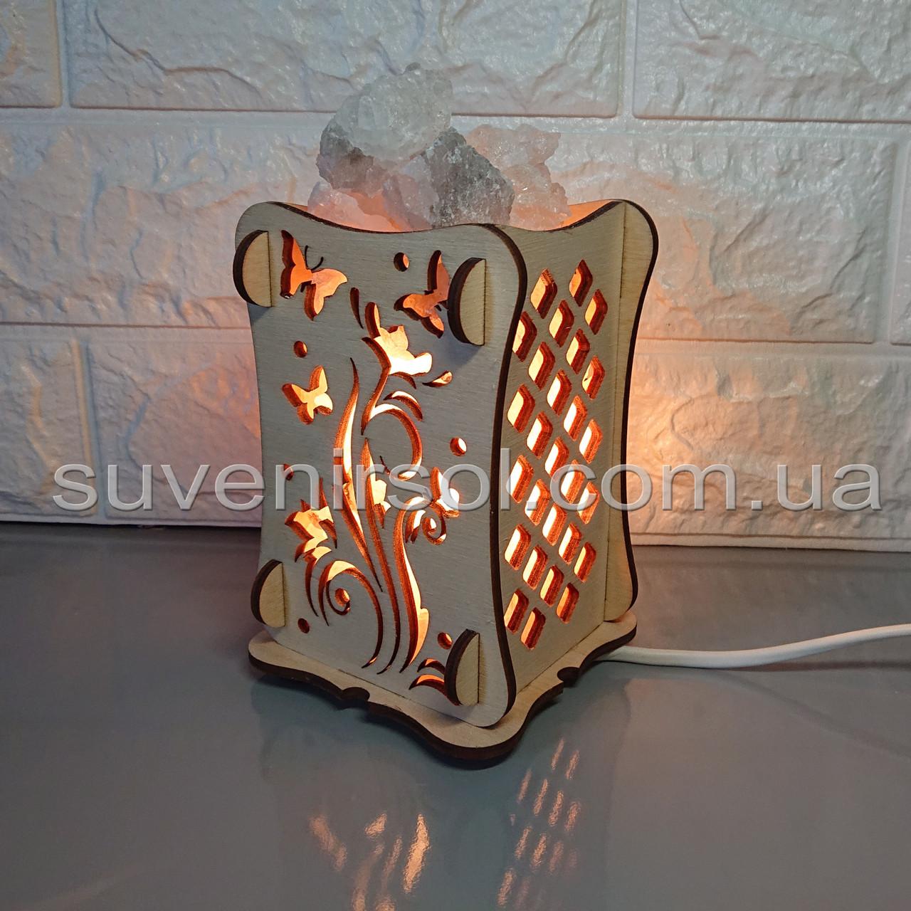 Соляной светильник Деревянный камин Цветок+бабочка