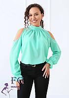 Шифоновая блуза с открытыми плечами и бантом 014В/05, фото 1