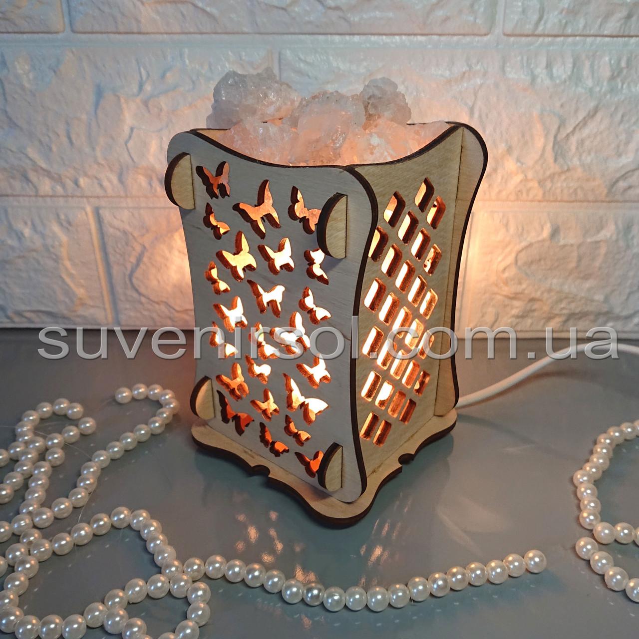 Соляной светильник Деревянный камин Бабочки