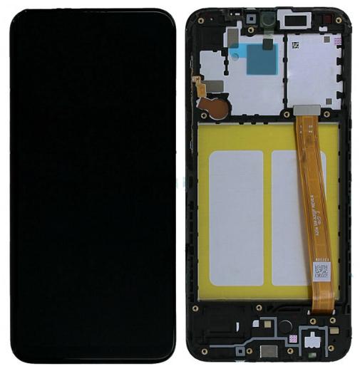 Дисплей модуль для Samsung A202 Galaxy A20e в зборі з тачскріном, чорний, з рамкою