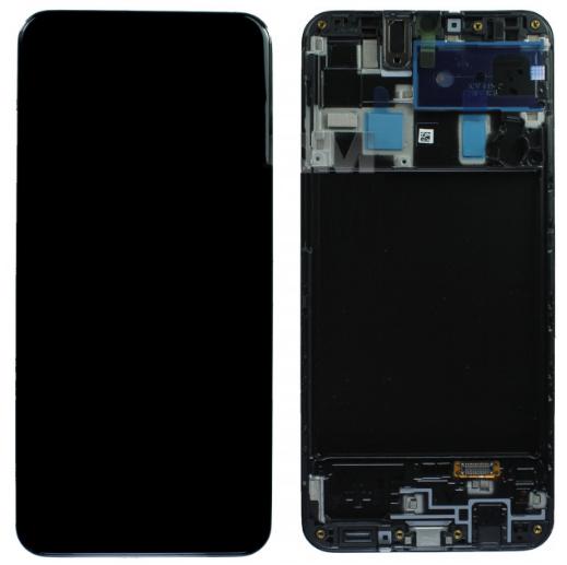 Дисплей модуль для Samsung A205 Galaxy A20 в зборі з тачскріном, чорний, з рамкою, Original #GH82-19571A