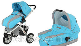 Детская универсальная коляска 2в1 QUATRO 3 голубая