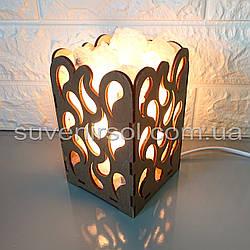Соляной светильник деревянный Капли с кристаллами соли