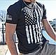 Футболка мужская винтажная патриотическая Distressed US Flag Athletic Fit с флагом США   черная   США, фото 2