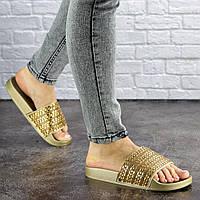 Шлепки женские с камнями Fashion Bruno 1032-2 36 размер 23 см Золотистый