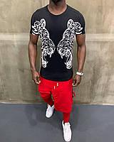 "Летняя мужская трикотажная футболка ""Белые тигры"" черная - S, M, XL"