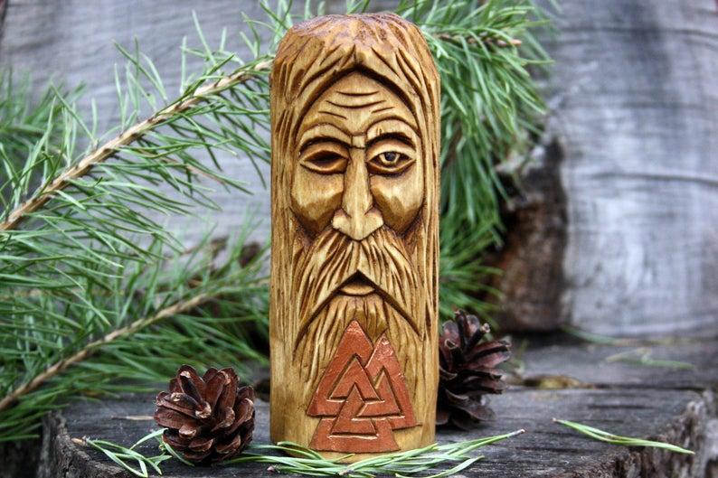 Скандинавський Бог Одін, статуетка з дерева бога Одін висота 11 см