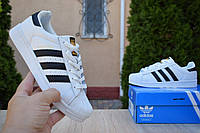 Кроссовки женские Adidas Superstar в стиле Адидас Суперстар, натуральная кожа код OD-2853. Белые с черным 40