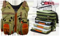 Рибальські сумки, жилети та аксесуари