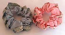 Гумки для волосся тканинні 2 шт діаметр 9 см, зелена і рожева