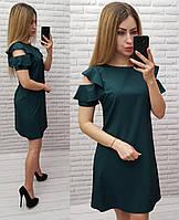 Платье с рюшами на плече арт. 783 хвойный зеленое / темно зеленое / бутылочное, фото 1