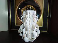 Свеча резная Бежево-белая, 13 см