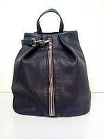 Жіноча шкіряна сумка - рюкзак 2433 синій