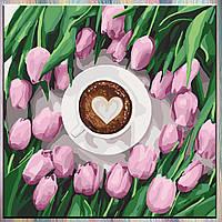 "Картина по номерам, холст на подрамнике - Натюрморт ""Кофе для любимой"" 40*40 см, без коробки"