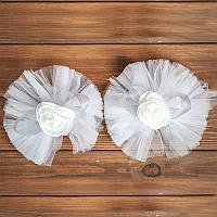Бело-серебристое украшение на авто для зеркал/ручек (арт. ADM-15)