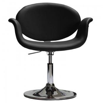 Крісло перукарське для клієнтів Студіо екошкіра, чорне, регіліруемое, диск