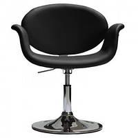 Кресло Студио парикмахерское, кожзам, хромированное, регулируемое, цвет черный