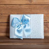 Свадебная книга пожеланий с голубым бантом (арт. BW-8)