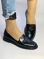 Molka. Жіночі туфлі-лофери.Чорні з натуральної шкіри Розмір 38.40 Магазин Vellena, фото 3