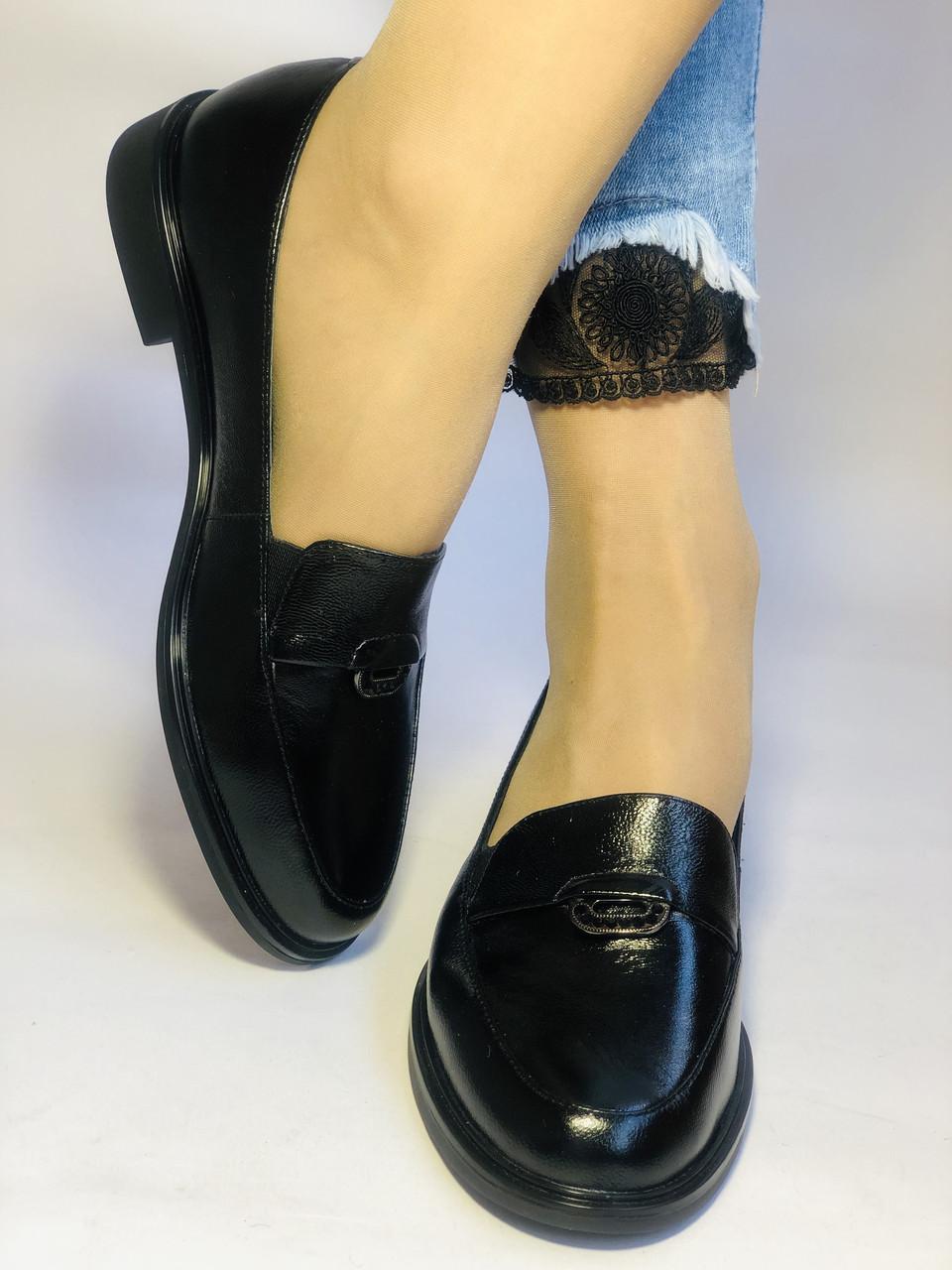 Molka. Жіночі туфлі-лофери.Чорні з натуральної шкіри Розмір 38.40 Магазин Vellena