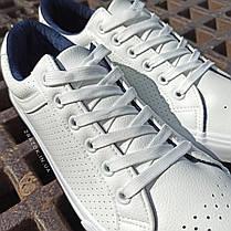 ПОСЛЕДНИЙ РАЗМЕР 44 Белые кожаные кеды кроссовки деми перфорация демисезон мужские летние экокожа, фото 3