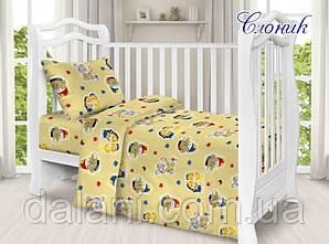 Комплект постельного белья детский в кроватку со слониками из поплина
