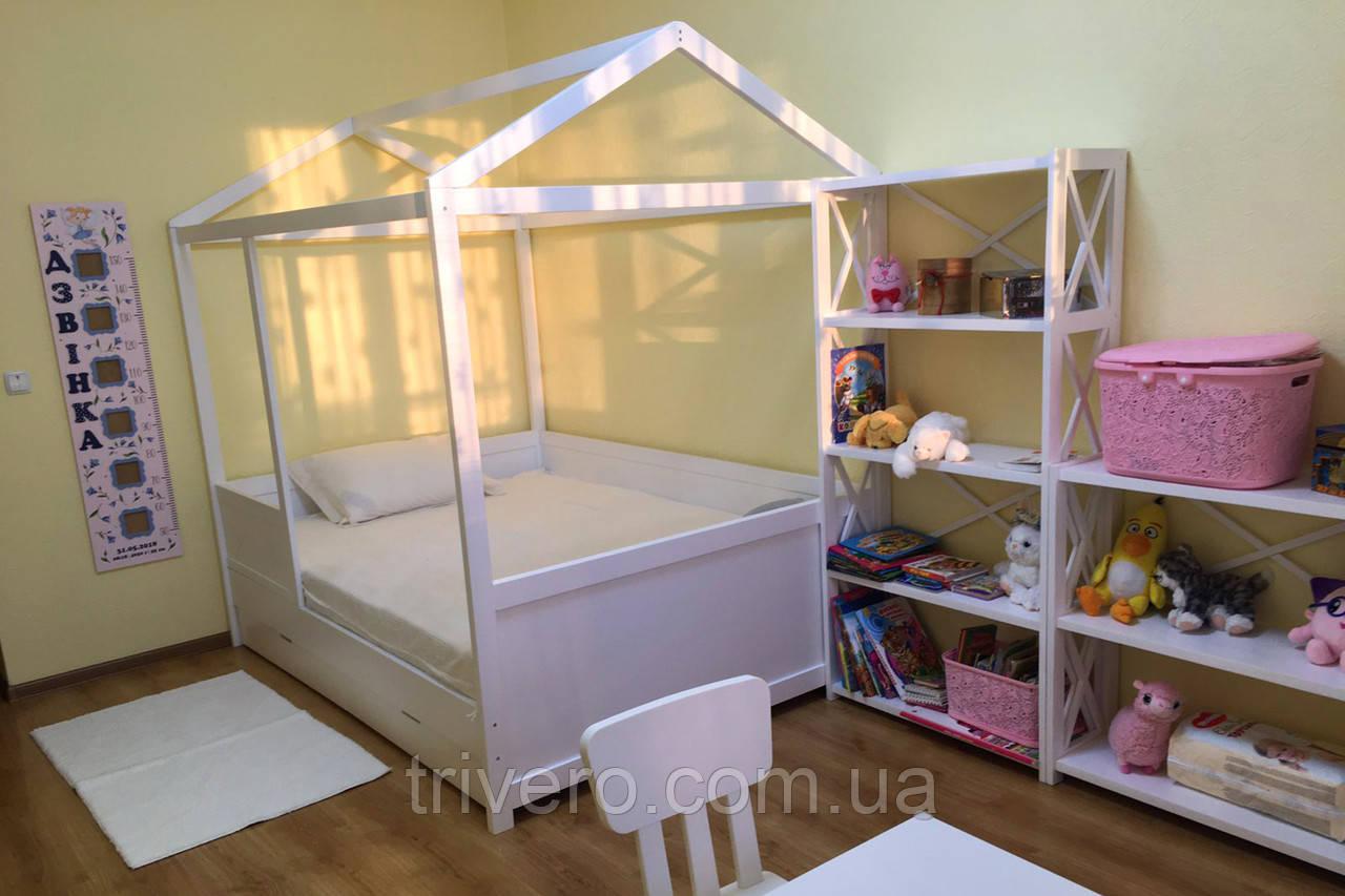 Детская Кровать домик из натурального дерева 1400*2000
