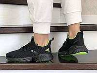 Кроссовки для женщин весна текстиль черные с салатовым в стиле Adidas