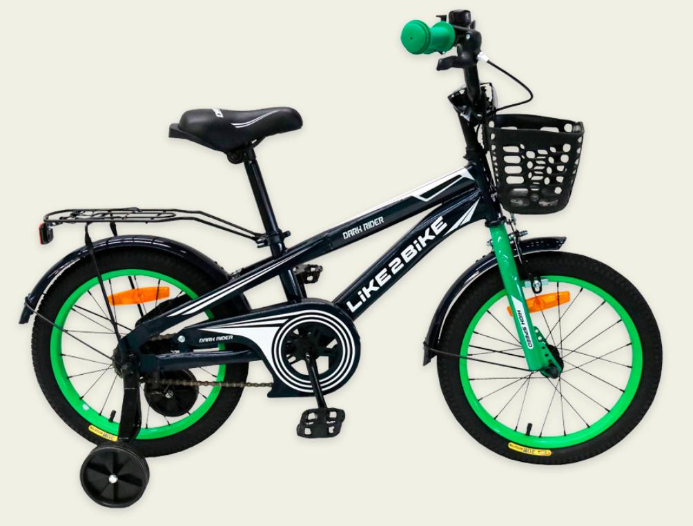 Детский двухколесный велосипед колеса 16 дюймов Like2bike Dark Rider 201603 рама сталь черно-зеленый