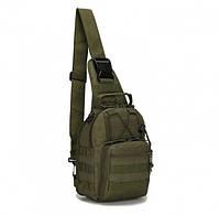 Сумка тактическая мужская на 7л через плечо, штурмовая, военная, армейская сумка рюкзак Oxford 600D, (Черный) Зеленый