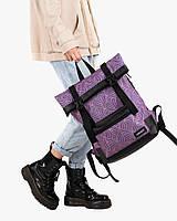 """Женский городской рюкзак """"ROLL"""" на 19л, принт фиолет, повседневный, спортивный, сумка для ноутбука, планшета"""